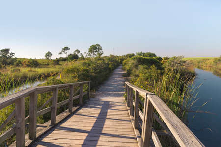 creek: Old wooden arched footbridge at Fort Pickens in Gulf Islands National Seashore spans one of many canals along the long hiking path.