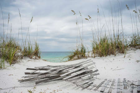 coastal erosion: Old sand fence lying on the beach in winter in Florida.