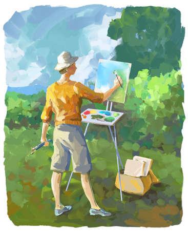ilustración pictórica de una pintura mujer en su caballete al aire libre