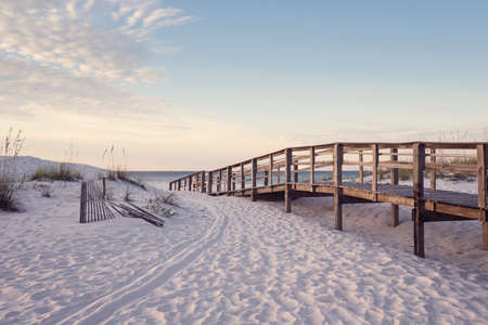seaside: Wooden beach boardwalk through the sand dunes at dawn in soft pink light.