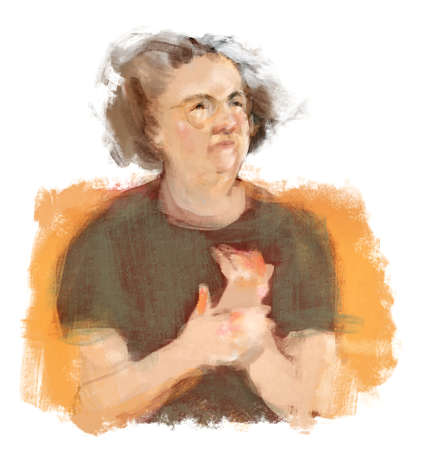 painterly: Original hand drawn painterly illustration of older woman rubbing her hands with arthritis pain, white background.
