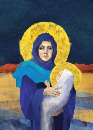 Original freehand Virgin Mary holding Baby Jesus illustration/painting in full color Standard-Bild