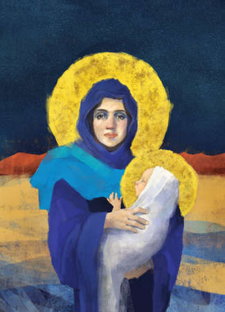 Original freehand Virgin Mary holding Baby Jesus illustration/painting in full color Archivio Fotografico