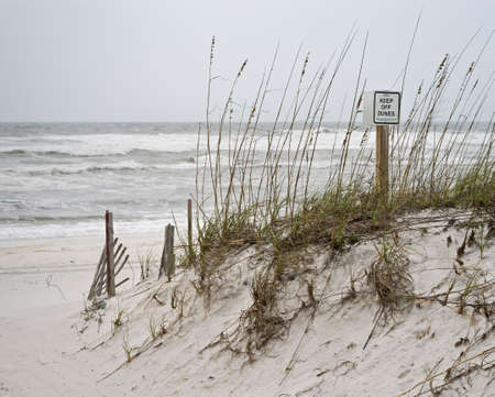 Sign warning beachgoers to keep off sand dunes on deserted beach on a stormy day.