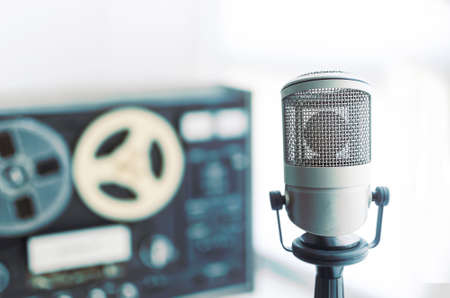 old microphone: microphone and old tape recorder Stock Photo
