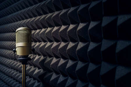 singer with microphone: Microphone in studio Stock Photo