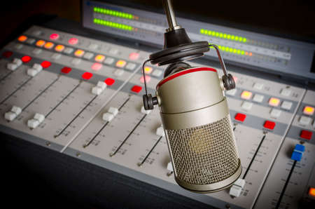 audio console and microphone in radio studio Stock Photo