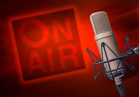 professionele microfoon in radiostudio Stockfoto