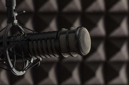 ラジオ スタジオでプロのマイク