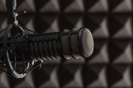 professional microphone in radio studio