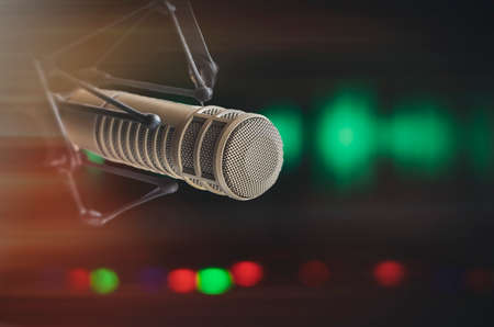 background with professional microphone Stock Photo
