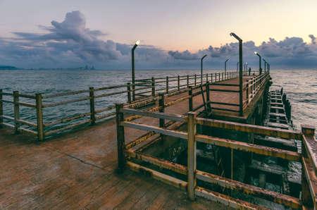 Pier on the black sea coast, sunset