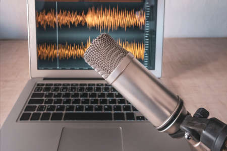 Professional microphone and wave form on the laptop screen Stock Photo