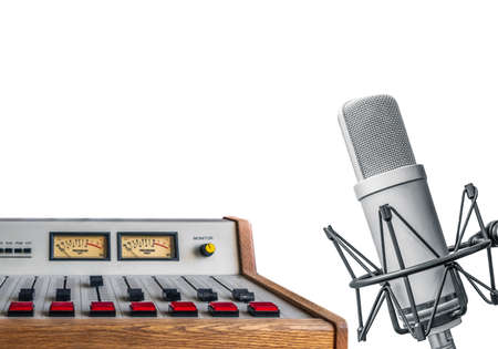 radio station studio: professional microphone and sound console