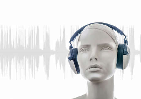 mannequin: female head with headphones and sound wave