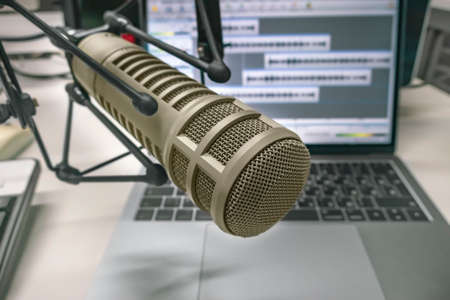 Professional microphone and wave form on the screen Stock Photo