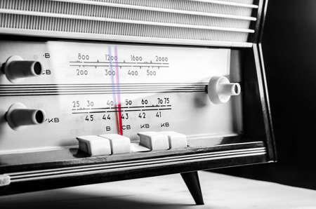 black and white photo: vintage radio