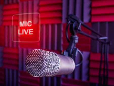 Professional microphone in radio station studio and on air sign Stock Photo