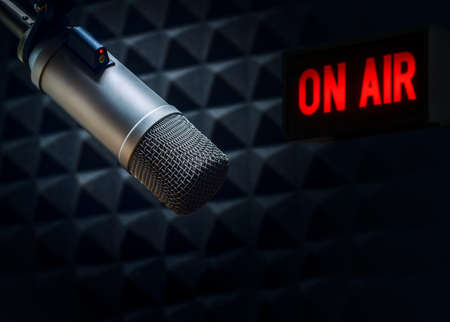 Professional microphone and on air sign Stock Photo
