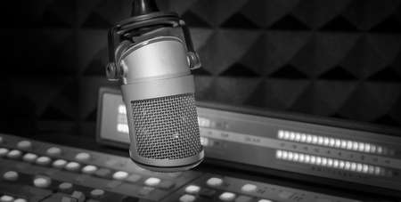 Professional microphone and sound mixer in studio Stock Photo
