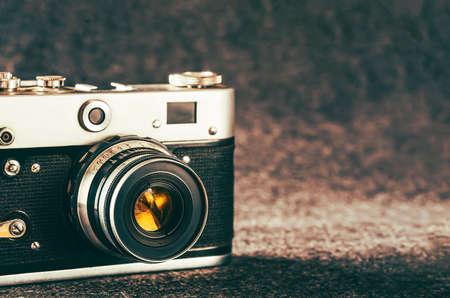 background with vintage analog camera
