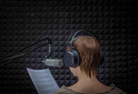 girl announcer in sound studio