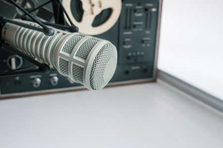 microphone and vintage tape recorder