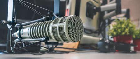 Professional microphone in radio station studio Stock Photo