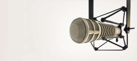 Background with a professional microphone and copy space
