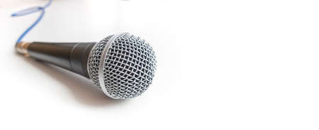 banner with microphone on white background Stock Photo