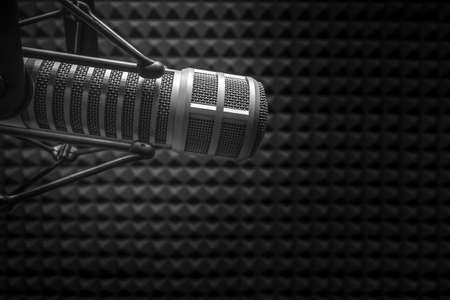 Background with a professional microphone Stock Photo