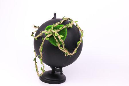 Green Heart on Black Globe , white background to celebrate Earth's Day Stock fotó
