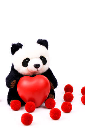 Panda Plush Doll Holding a red Heart to celebrate Valentine's day