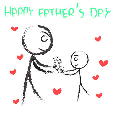 father  s day: happy father s  day   card design Illustration