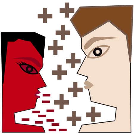 negative thinking: concept de bande dessin�e de l'illustrateur pens�e positive et n�gative