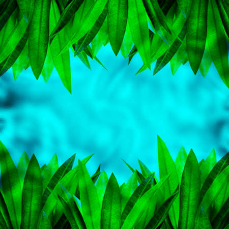 blue green background: green leaves and blue  space frame  background