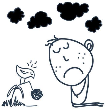 sad boy: sad boy and  bird  vector Illustration
