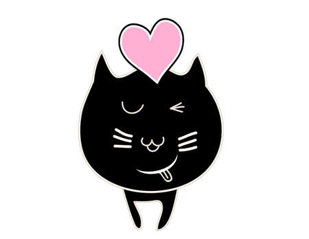 pink and black: cute black cat with pink heart vector