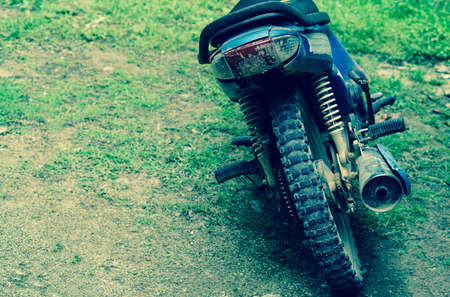 tire tracks: dirty motorcycle tire Stock Photo