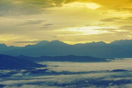 Sea of the mist with blue  sky on mountain at morning sunrise winter season background Reklamní fotografie