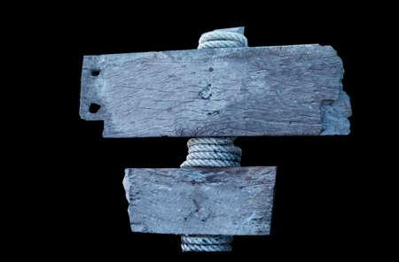 old gray wooden sign isolate on black  background Reklamní fotografie