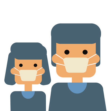 man and  woman with white mask,corona virus protect concept vector
