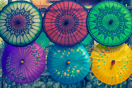 colorful umbrella  background design art of Myanmar  Stock Photo