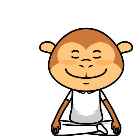 cute cartoon sitting  in meditation  vector eps.10 Illustration