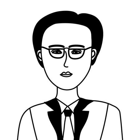 doodle hand drawn  cartoon of Asian men vector eps.10 Illustration