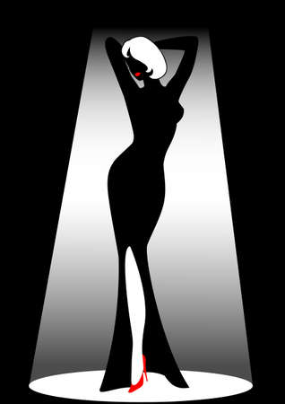 harmonous: Silhouette of the harmonous woman on a black background Stock Photo