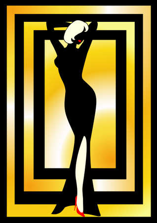 harmonous: Silhouette of the harmonous woman on a gold background