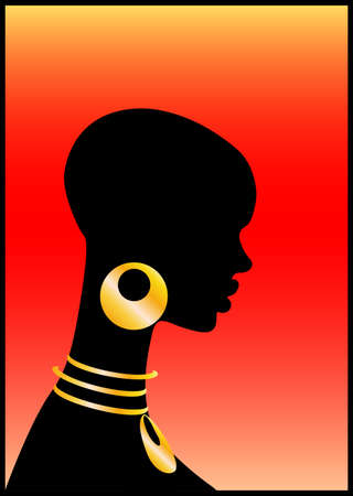 heat register: The African girl on a red background