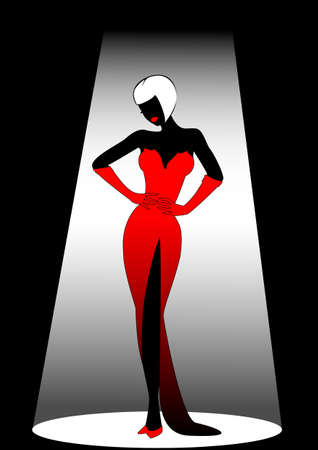 woman in red dress: Silhouette of the harmonous woman on a black background Stock Photo