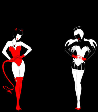 womanly: Silhouettes of an angel and devil on a black background